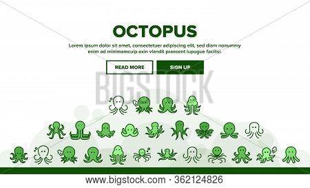 Octopus Ocean Mollusk Landing Web Page Header Banner Template Vector. Octopus Marine Sea Clam With T