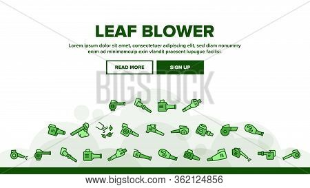 Leaf Blower Equipment Landing Web Page Header Banner Template Vector. Leaf Blower Electronic Device,