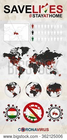 Infographic About Coronavirus In Tajikistan - Stay At Home, Save Lives. Tajikistan Flag And Map, Wor