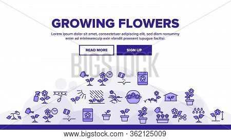 Growing Flowers Plants Landing Web Page Header Banner Template Vector. Growing Flowers In Greenhouse