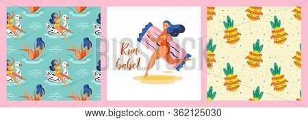 Run Babe. Cute Ananas. Young Smiling Girl On Rubber Ring Duck.  Summer Seaside Beach Pool Party. Hot