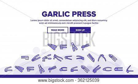 Garlic Press Utensil Landing Web Page Header Banner Template Vector. Garlic Press Kitchenware Equipm