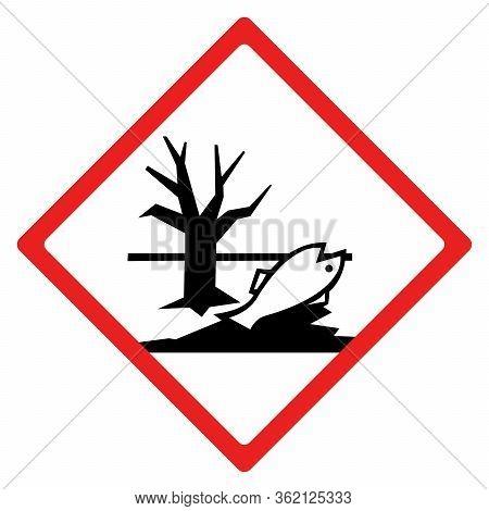 Environmental Hazard Sign Or Symbol. Vector Design Isolated On White Background.  Latest Hazard Sign