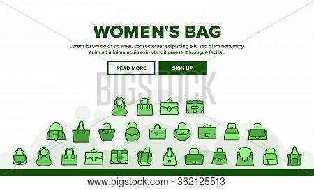 Women Bag Accessory Landing Web Page Header Banner Template Vector. Fashion Women Bag Baguette And B
