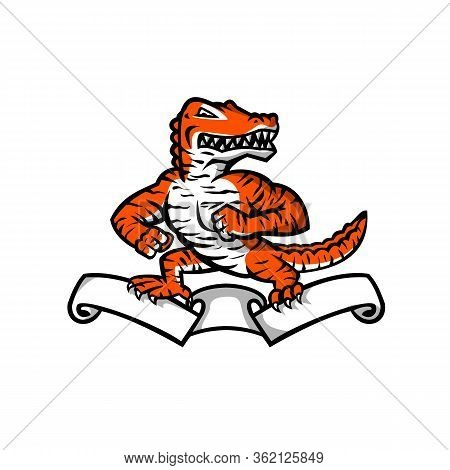 Mascot Icon Illustration Of A Ferocious Reptilian Alligator, Gator Or Crocodile With Bengal Tiger Co
