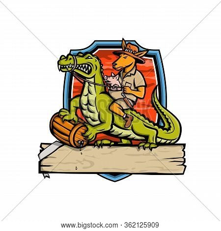 Mascot Icon Illustration Of A Australian Outback Kangaroo With Pig In Pouch Riding A Crocodile Or Cr
