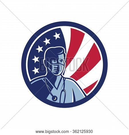 Mascot Icon Illustration Of Bust Of An American Male Nurse,medical Professional, Doctor, Healthcare