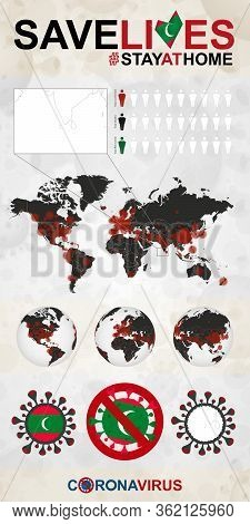 Infographic About Coronavirus In Maldives - Stay At Home, Save Lives. Maldives Flag And Map, World M