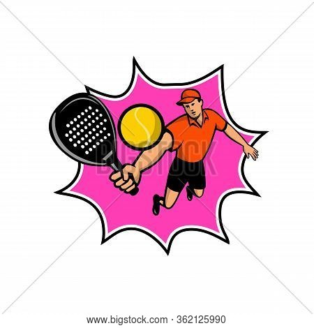 Mascot Icon Illustration Of A Padel Player, A Racquet Sport With Stringless Racket Jumping At Ball V