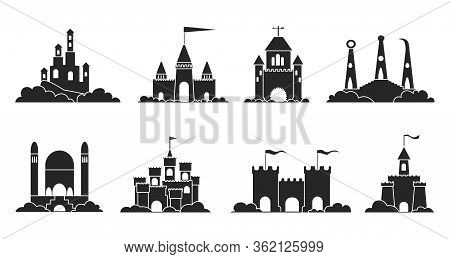 Sand Castle Vector Illustration On White Background . Sandcastle Vector Black Set Icon. Isolated Bla