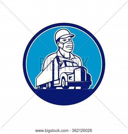 Mascot Icon Illustration Of A Truck Driver Wearing Surgical Mask With Semi Truck And Trailer Transpo