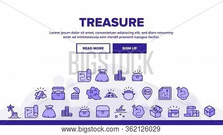 Treasure Pirate Gold Landing Web Page Header Banner Template Vector. Treasure Chest And Bag With Gol