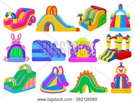 Inflatable Castle Isolated Cartoon Set Icon. Vector Illustration Trampoline On White Background. Vec