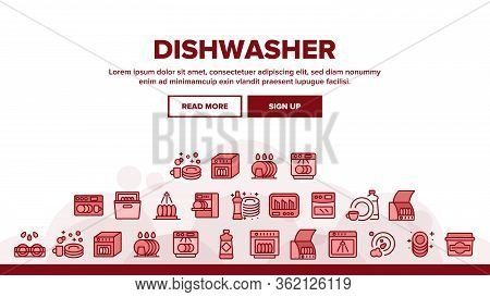 Dishwasher Utensil Landing Web Page Header Banner Template Vector. Dishwasher Equipment And Cleaning