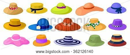 Summer Hats Isolated Cartoon Set Icon. Vector Illustration Sun Cap On White Background. Vector Carto