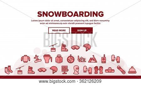 Snowboarding Landing Web Page Header Banner Template Vector. Mask And Snowboard, Shoes And Helmet, G