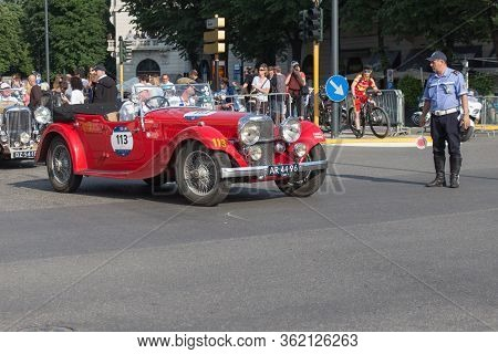 Brescia, Italy - May 19 2018: Alvis Speed 20 Sb 1934 Is An Old Racing Car In Rally Mille Miglia 2018