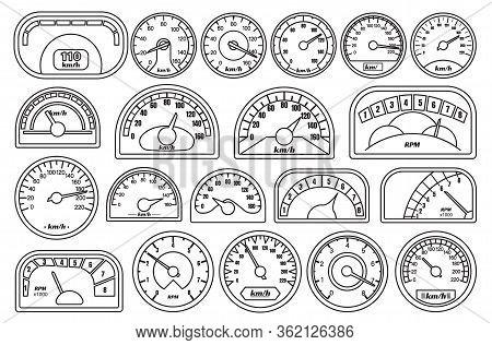 Speedometer Vector Outline Set Icon. Vector Illustration Speed Of Car On White Background . Outline