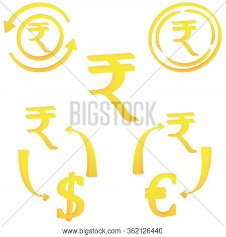 3d Set Rupee India Currency Symbol Icon Striped Vector Illustration On A White Background