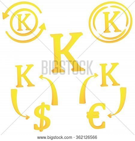 3d Set Myanma Kyat Currency Symbol Of Myanmar Icon Vector Illustration On A White Background