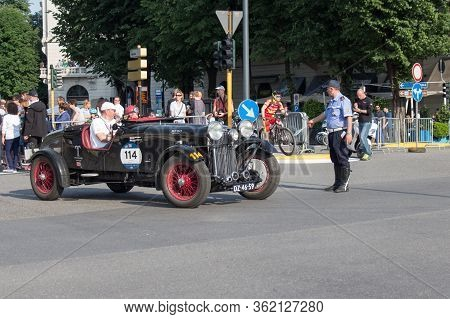 Brescia, Italy - May 19 2018: Lagonda Lg 45 1936 Is An Old Racing Car In Rally Mille Miglia 2018, Li