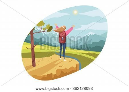 Travelling, Tourism, Nature, Hiking Concept. Young Woman Hiker Tourist With Backpack Standing On Hil