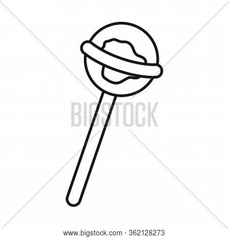 Vector Illustration Of Lollipop And Round Sign. Graphic Of Lollipop And Circle Stock Symbol For Web.