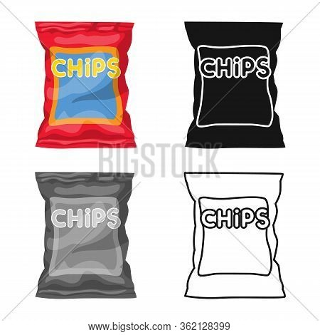 Vector Design Of Chip And Fluted Symbol. Web Element Of Chip And Crunchy Vector Icon For Stock.