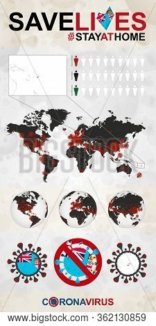 Infographic About Coronavirus In Fiji - Stay At Home, Save Lives. Fiji Flag And Map, World Map With