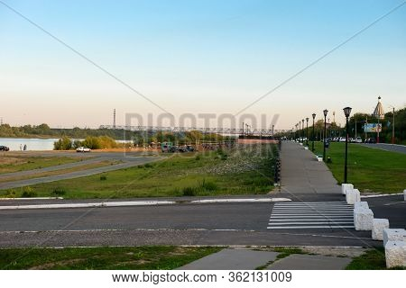 Murom, Russia - August 24, 2019:  Embankment Of The Oka River On A Summer Evening