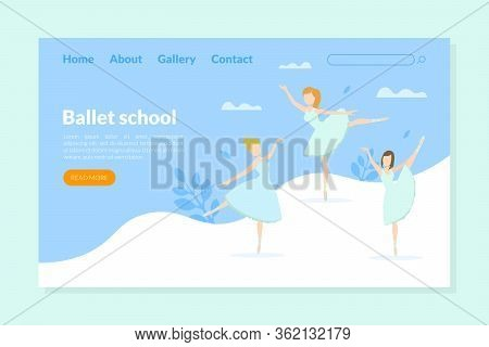 Ballet School Landing Page Template, Ballet Studio, Class, Choreography School For Kids Homepage, We