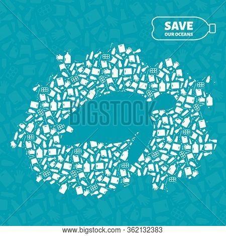 Stop Ocean Plastic Pollution Concept Vector Illustration. Turtle Marine Reptile Silhouette Cut In Pl