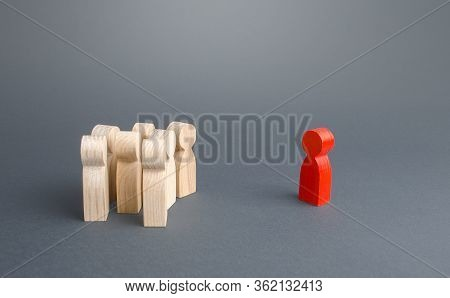 Red Figurine Person And Crowd Of People Standing Separately. Leader And Leadership Skills. Cooperati