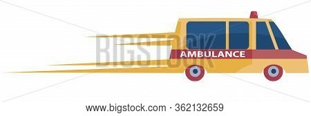 Ambulance In Orange Hurries To A Call Leaving Behind Itself Traces Of Speed, Isolated Object On A Wh