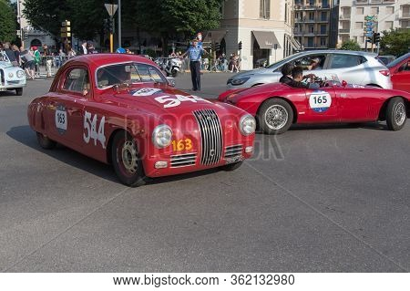 Brescia, Italy - May 19 2018: Fiat 1100 S Mm Berlinetta Gobbone 1948 Is An Old Racing Car In Rally M