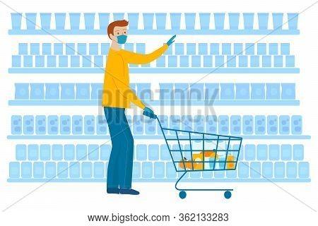 Man In Medical Masks And Gloves Doing Shopping In Supermarket. Quarantine Coronavirus 2019-ncov In T