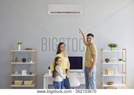 The Family Uses Air Conditioning At Home.