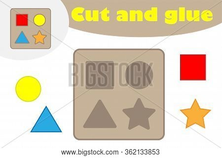 Shape Puzzle In Cartoon Style, Education Game For The Development Of Preschool Children, Use Scissor