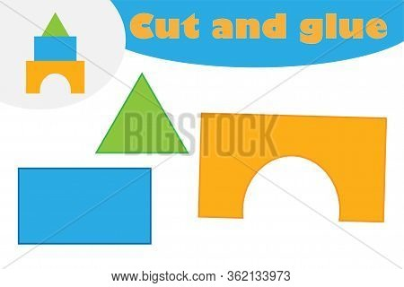 Blocks In Cartoon Style, Education Game For The Development Of Preschool Children, Use Scissors And