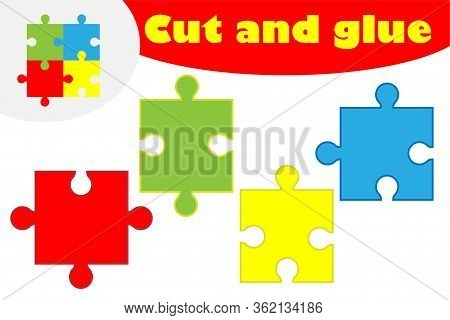 Puzzle In Cartoon Style, Education Game For The Development Of Preschool Children, Use Scissors And