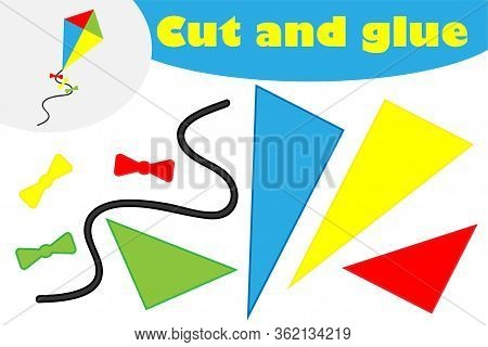 Kite In Cartoon Style, Education Game For The Development Of Preschool Children, Use Scissors And Gl