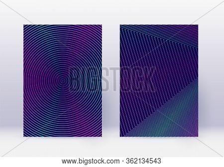 Cover Design Template Set. Abstract Lines Modern Brochure Layout. Neon Vibrant Halftone Gradients On