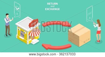 3d Isometric Flat Vector Concept Of Product Exchange And Return Policy.