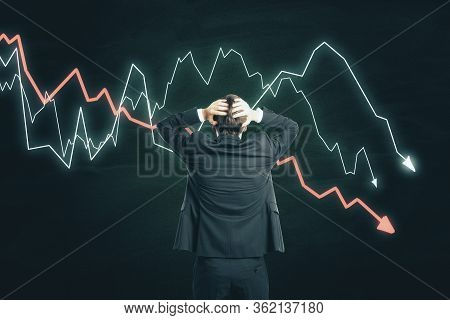 Scared Businessman Looking On Creative Crash Recession Chart. Business And Financial Crisis Concept.