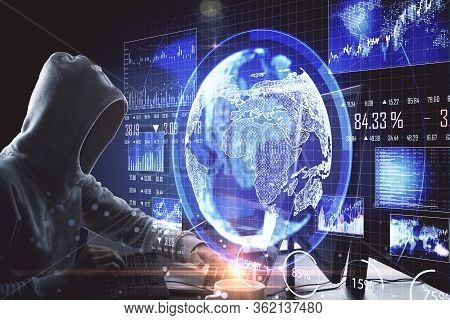 Hacker Using Computer With Global Business Scheme In Office. Hacking And Cyber Attack Concept.