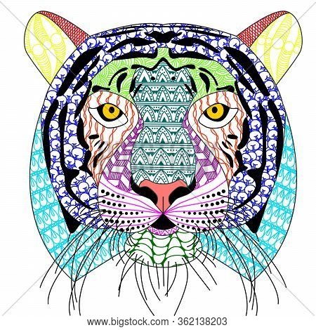 Zenart/zentangle Style Tiger Head With Moustache,color Drawing  For Print