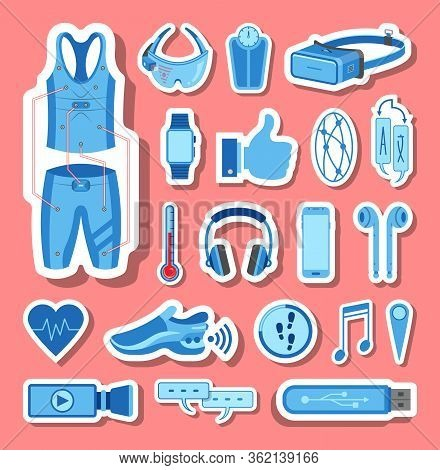 Wearable Technology Icons Group Set In Blue Tones. All The Icon Objects, Shadows And Background Are