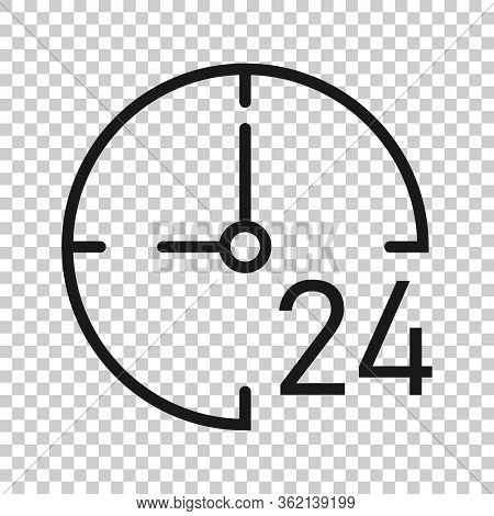 Clock 24h Icon In Flat Style. Watch Vector Illustration On White Isolated Background. Timer Business