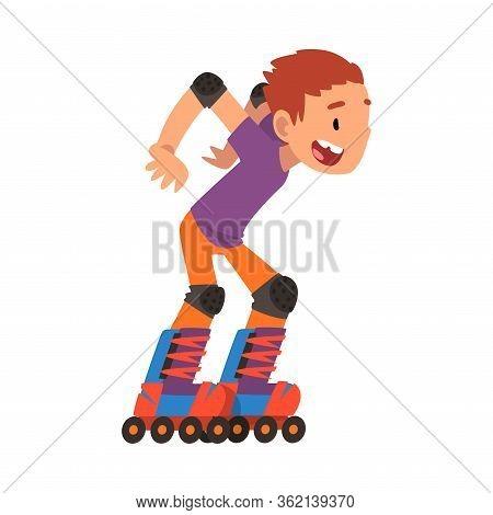 Rollerblading Boy, Happy Smiling Child Roller Skating, Teenager Outdoor Activity Cartoon Vector Illu