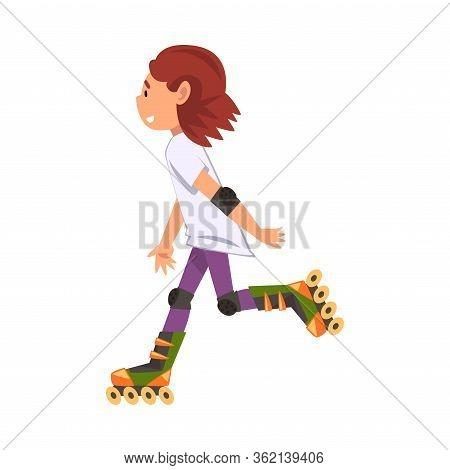 Rollerblading Teen Girl, Cute Child Roller Skating, Teenager Outdoor Activity Cartoon Vector Illustr